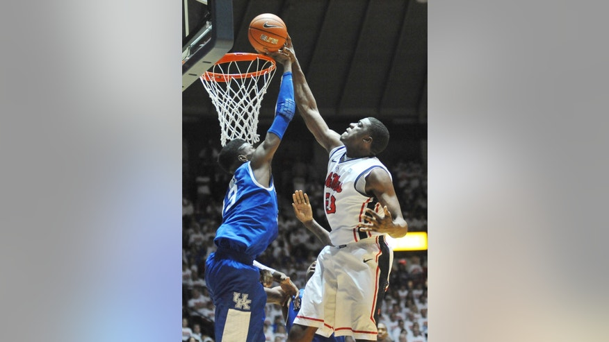 Kentucky's Nerlens Noel (3) defends on a shot by Mississippi's Reginald Buckner during an NCAA college basketball game Tuesday, Jan. 29, 2013, in Oxford, Miss. (AP Photo/Oxford Eagle, Bruce Newman) MANDATORY CREDIT  MAGS OUT  NO SALES