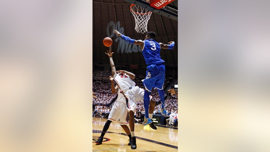 Kentucky forward Nerlens Noel (3) blocks a shot attempt by Mississippi guard Jarvis Summers (32) in the first half of their NCAA college basketball game, Tuesday, Jan. 29, 2013 in Oxford, Miss.  Kentucky won 87-74. (AP Photo/Rogelio V. Solis)