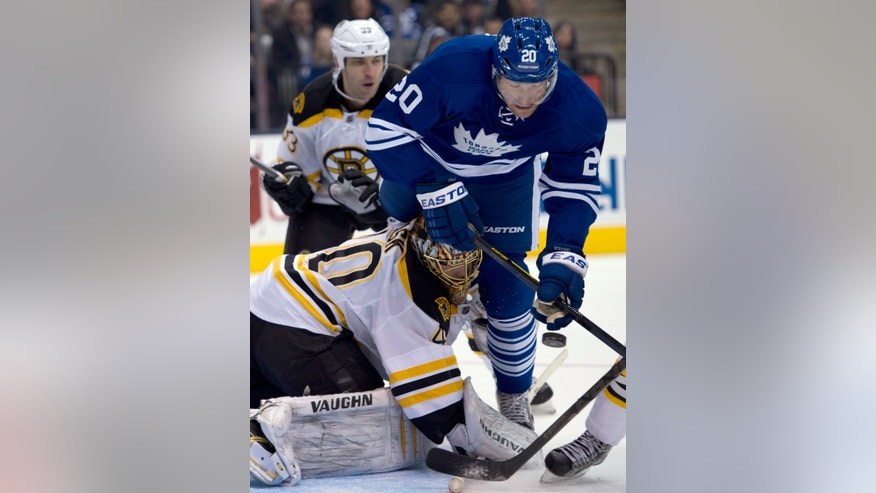 Toronto Maple Leafs center David Steckel (20) collides with Boston Bruins goaltender Tuukka Rask as they battle for the puck during the second period of an NHL hockey game in Toronto on Saturday, Feb. 2, 2013. (AP Photo/The Canadian Press, Frank Gunn)