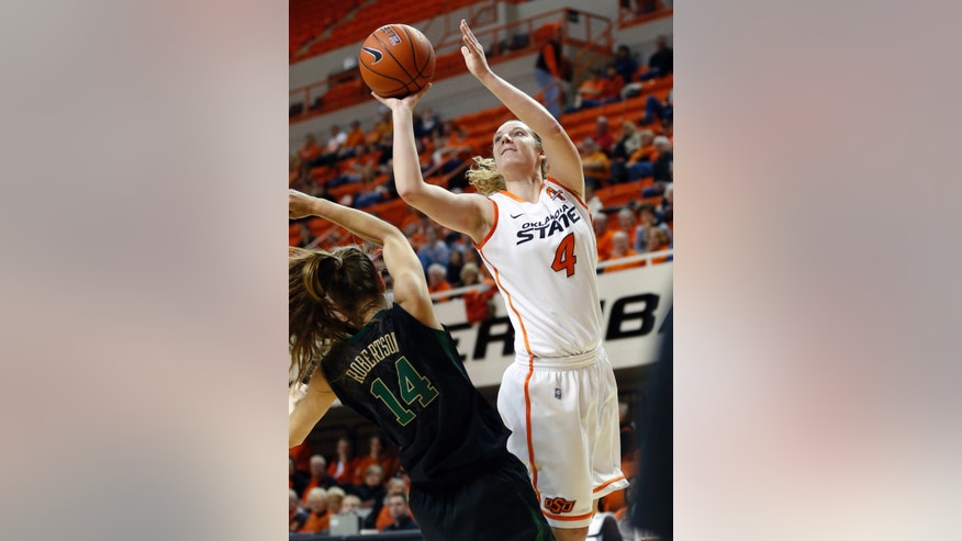 Oklahoma State forward Liz Donohoe (4) shoots over Baylor guard Makenzie Robertson (14) in the second half of an NCAA college basketball game in Stillwater, Okla., Saturday, Feb. 2, 2013. Donohoe led Oklahoma State with 24 points but Baylor won 81-62. (AP Photo/Sue Ogrocki)