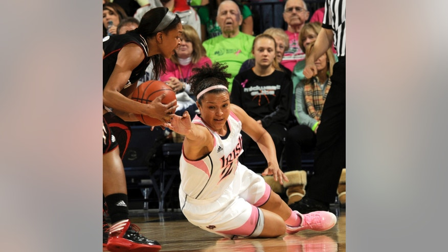 Notre Dame guard Kayla McBride, right, tries to knock the ball away from Cincinnati guard Alyesha Lovett during the first half of an NCAA college basketball game Saturday, Feb. 2, 2013, in South Bend, Ind. (AP Photo/Joe Raymond)