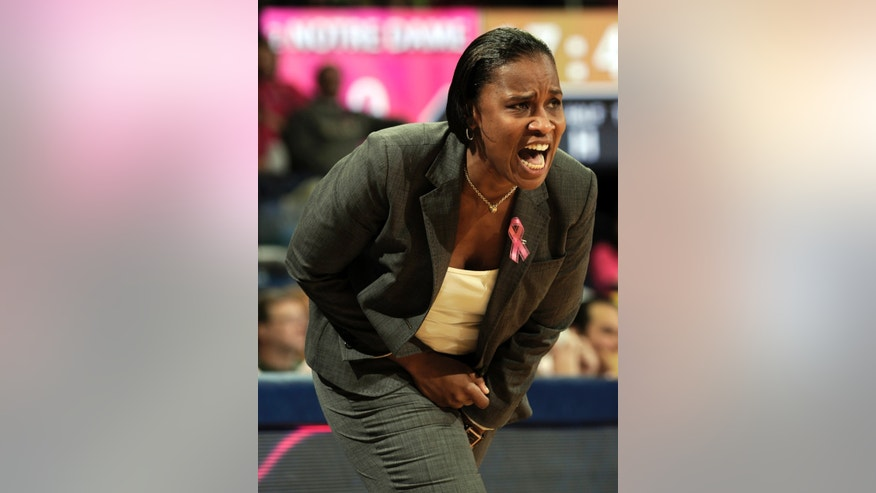 Cincinnati coach Jamelle Elliott shouts at her team during the second half of an NCAA college basketball game against Notre Dame, Saturday, Feb. 2, 2013 in South Bend, Ind. Notre Dame won 64-42. (AP Photo/Joe Raymond)