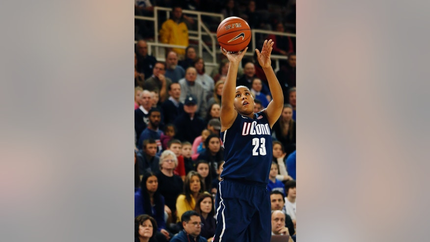 Connecticut forward Kaleena Mosqueda-Lewis (23) shooots during the second half of a NCAA college basketball game against St. John's, Saturday, Feb. 2, 2013, at St. John's University in New York. Connecticut defeated St. John's 71-65. (AP Photo/John Minchillo)