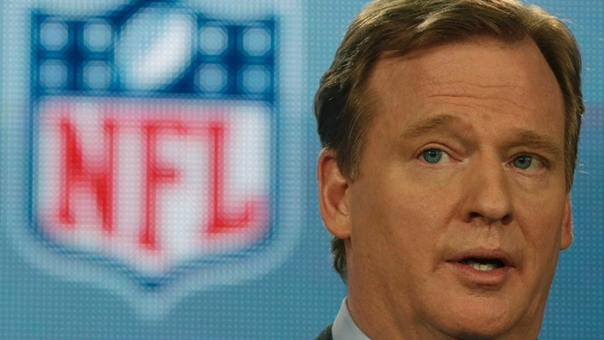 Feb. 1, 2013: NFL Commissioner Roger Goodell answers questions during an NFL Super Bowl XLVII football game news conference at the New Orleans Convention Center in New Orleans.