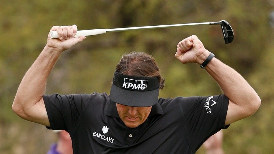 Phil Mickelson pumps his arms as he celebrates a long birdie putt on the seventh hole during the final round of the Waste Management Phoenix Open golf tournament on Sunday, Feb. 3, 2013, in Scottsdale, Ariz. (AP Photo/Ross D. Franklin)