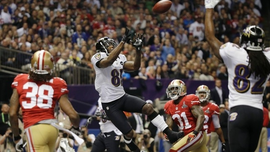 Feb. 3, 2013: Baltimore Ravens wide receiver Anquan Boldin (81) catches a 13-yard touchdown pass during the first half of the NFL Super Bowl XLVII football game against the San Francisco 49ers, in New Orleans.