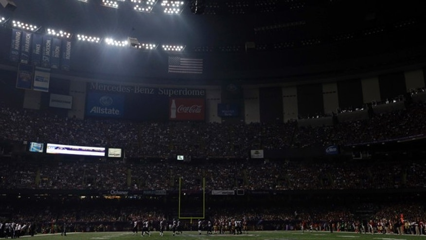 Feb. 3, 2013: The Superdome is seen after the lights went out during the second half of NFL Super Bowl XLVII football game Beyonce performs during the halftime show in New Orleans.
