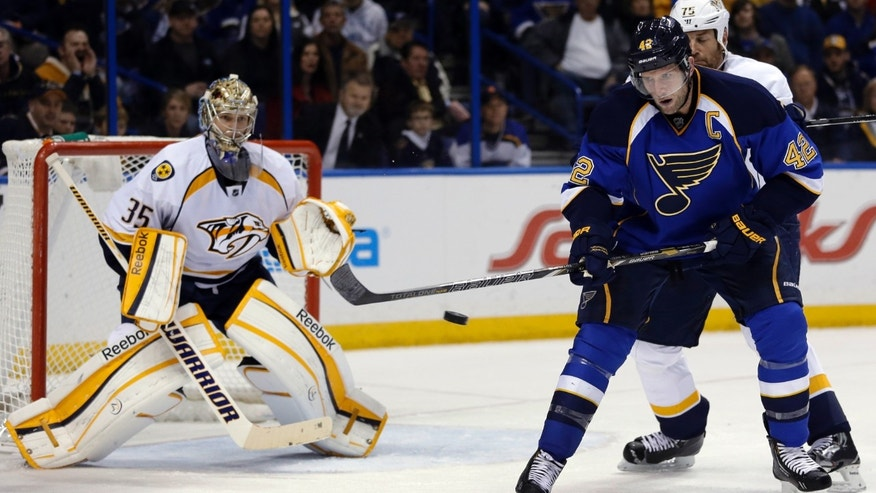 St. Louis Blues' David Backes, right, tries to deflect a shot on goal as Nashville Predators goalie Pekka Rinne, of Finland, defends during the second period of an NHL hockey game Tuesday, Feb. 5, 2013, in St. Louis. (AP Photo/Jeff Roberson)