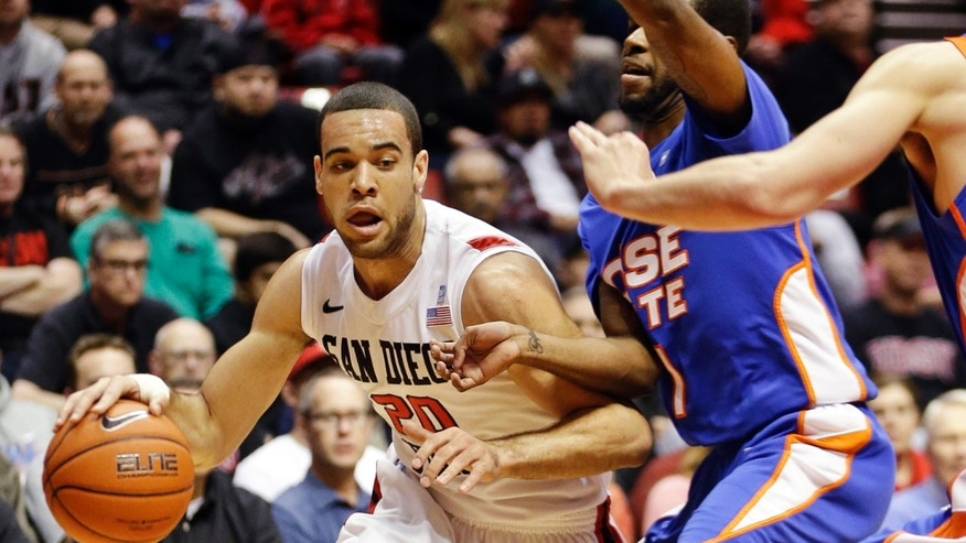 San Diego State forward JJ O'Brien drives the baseline against Boise State guard Mikey Thompson during the first half of an NCAA college basketball game, Wednesday, Feb. 6, 2013, in San Diego. (AP Photo/Lenny Ignelzi)