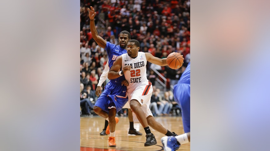 San Diego State guard Chase Tapley drives past Boise State guard Mikey Thompson during the first half of an NCAA college basketball game Wednesday, Feb. 6, 2013, in San Diego. (AP Photo/Lenny Ignelzi)