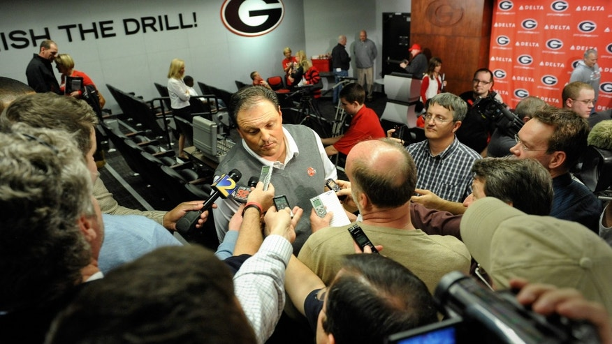 Georgia defensive coordinator Todd Grantham speaks with the media during a national signing day news conference in Athens, Ga., Wednesday, Feb. 6, 2013. (AP Photo/The Athens Banner-Herald, AJ Reynolds)   MAGS OUT; MANDATORY CREDIT