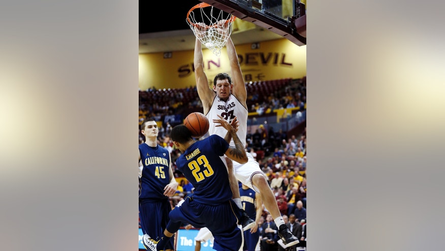 Arizona State's Ruslan Pateev, rear, of Russia, dunks over California's Allen Crabbe (23) during the first half of an NCAA college basketball game, Thursday, Feb. 7, 2013, in Tempe, Ariz. (AP Photo/Matt York)