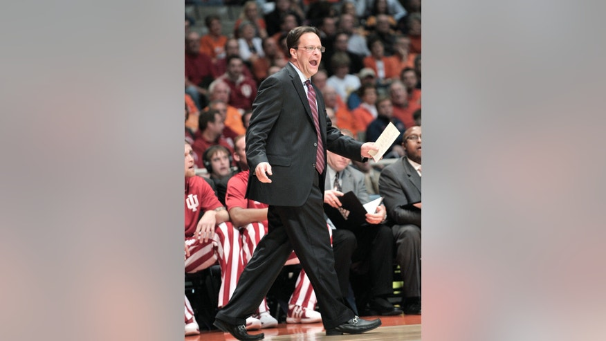 Indiana coach Tom Crean questions an official's call in the first half of an NCAA college basketball game against Illinois at Assembly Hall in Champaign, Ill., on Thursday, Feb. 7, 2013. Illinois won 74-72. (AP Photo/John Dixon)