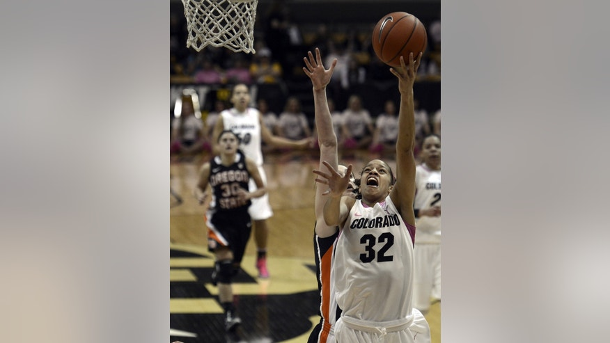 Colorado's Arielle Roberson takes a shot against Oregon State during an NCAA college basketball game Friday, Feb. 8, 2013, in Boulder, Colo. (AP Photo/Daily Camera, Jeremy Papasso) TV OUT  NO SALES