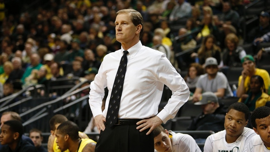 Oregon head coach Dana Altman watches from the bench during Colorado's 48-47 victory over Oregon in an NCAA college basketball game at Matthew Knight Arena in Eugene, Ore., Thursday, Feb. 7, 2013. (AP Photo/Brian Davies)