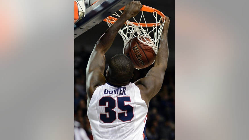 Gonzaga's Sam Dower (35) dunks against Pepperdine in the first half of an NCAA college basketball game, Thursday, Feb. 7, 2013, in Spokane, Wash. (AP Photo/Jed Conklin)