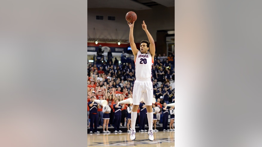 Gonzaga's Elias Harris shoots against Pepperdine in the first half of an NCAA college basketball game, Thursday, Feb. 7, 2013, in Spokane, Wash. (AP Photo/Jed Conklin)