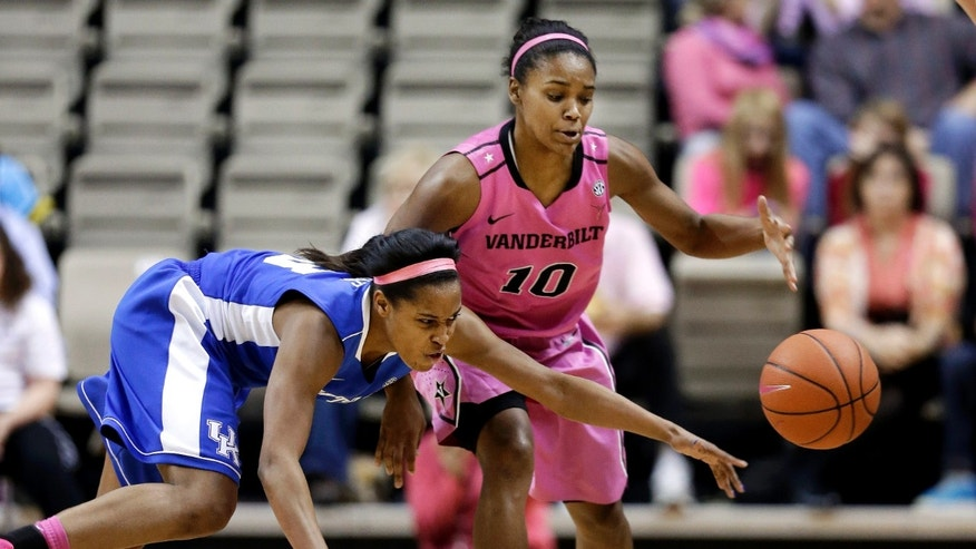 Kentucky guard Bria Goss, left, knocks the ball away from Vanderbilt guard Christina Foggie (10) in the first half of an NCAA college basketball game, Sunday, Feb. 10, 2013, in Nashville, Tenn. (AP Photo/Mark Humphrey)