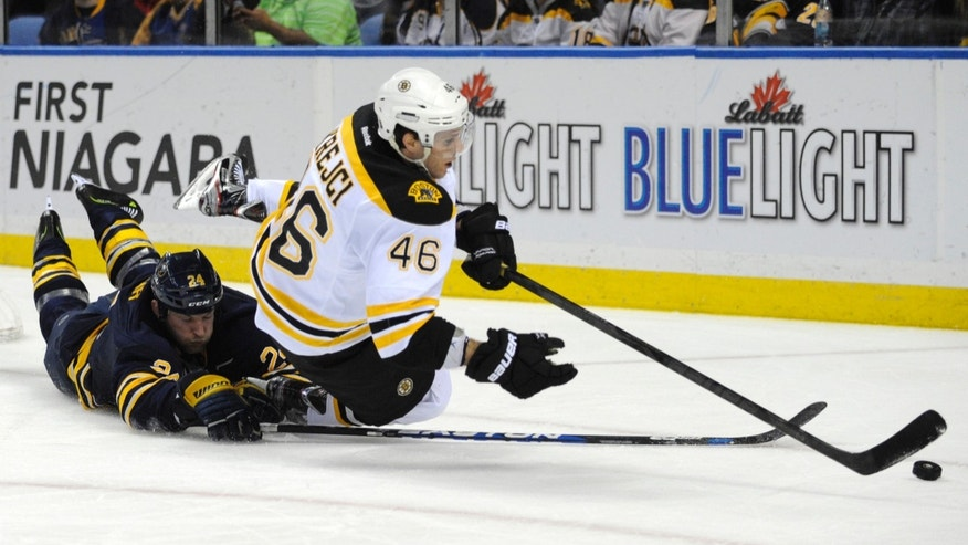 Buffalo Sabres' defenseman Robyn Regehr (24), of Brazil, upends Boston Bruins center David Krejci, (46), of the Czech Republic during the second  period of an NHL hockey game in Buffalo, N.Y., Sunday, Feb. 10, 2013. (AP Photo/Gary Wiepert)