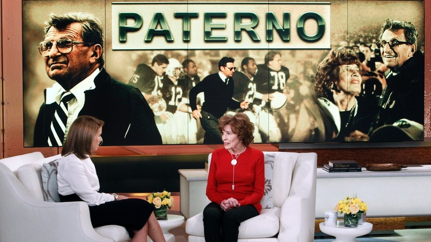 "This Feb. 6, 2013 photo released by ABC shows Sue Paterno, widow of legendary football coach Joe Paterno, right, with Katie Couric for an exclusive interview for the ""Katie"" show in New York. Paterno is fighting back against the accusations against her husband that followed the Jerry Sandusky scandal. Her campaign started with a letter sent Friday to former Penn State players. She wrote that the family's exhaustive response to former FBI director Louis Freeh's report for the university on the Sandusky child sex abuse case will officially be released to the public at 9 a.m. Sunday on paterno.com. The interview with Couric will air on Monday, Feb. 11. (AP Photo/Disney-ABC, Lou Rocco)"