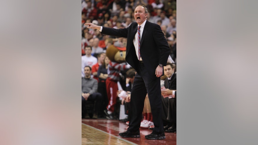 Ohio State head coach Thad Matta directs against Indiana during the first half of an NCAA college basketball game on Sunday, Feb. 10, 2013, in Columbus, Ohio. Indiana defeated Ohio State 81-68. (AP Photo/Jay LaPrete)