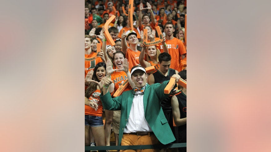 Miami fans show their support before Miami's NCAA college basketball game against North Carolina on Saturday, Feb. 9, 2013, in Coral Gables, Fla. Miami won 87-61. (AP Photo/El Nuevo Herald, David Santiago) MAGS OUT