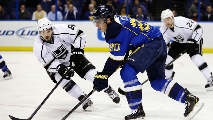 St. Louis Blues' Alexander Steen (20) passes the puck as Los Angeles Kings' Drew Doughty, left, and Trevor Lewis, right, defend during the second period of an NHL hockey game, Monday, Feb. 11, 2013, in St. Louis. (AP Photo/Jeff Roberson)