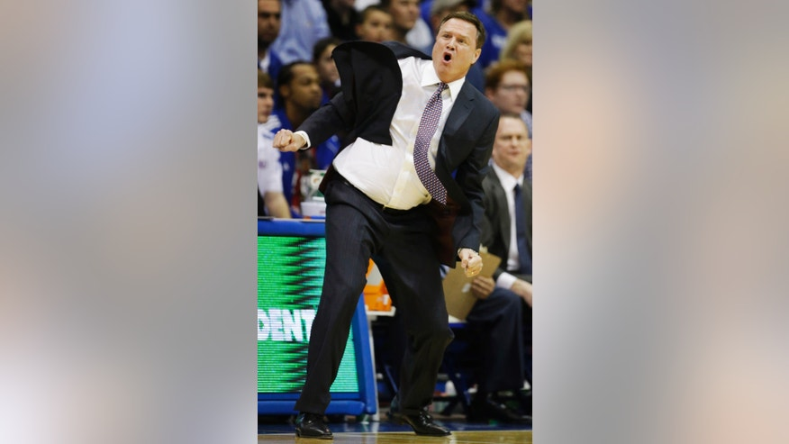 Kansas head coach Bill Self yells for a call during the first half of an NCAA college basketball game against Kansas State in Lawrence, Kan., Monday, Feb. 11, 2013. (AP Photo/Orlin Wagner)