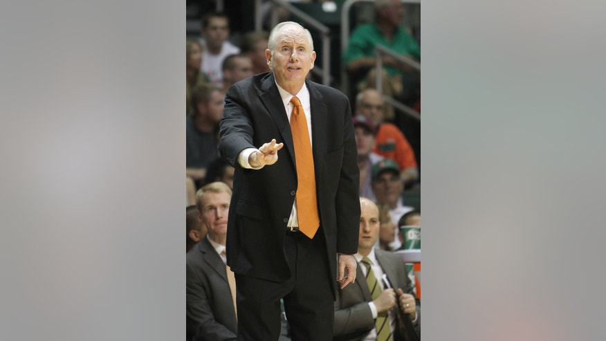 Miami Hurricane coach Jim Larranaga gives instructions to his team during the first half against North Carolina in an NCAA college basketball game Saturday, Feb. 9, 2013, in Coral Gables, Fla. Miami won 87-61. (AP Photo/El Nuevo Herald, David Santiago) MAGS OUT