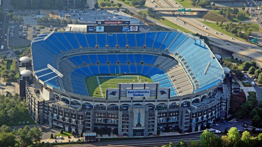 FILE - In this Aug. 16, 2012 file photo, Bank of America Stadium, home of the Carolina Panthers is seen in this aerial photo in Charlotte, N.C. Carolina Panthers president Danny Morrison tells The Associated Press the team hopes to begin his stadium renovation process immediately after the upcoming 2013 season and discusses what the team views as its top projects to help enhance the overall fan experience. (AP Photo/Chuck Burton, File)
