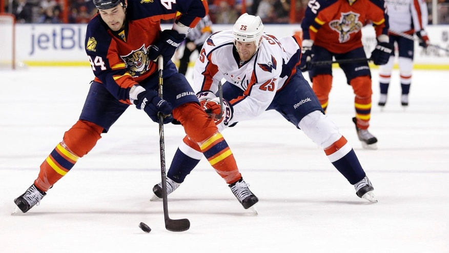 Florida Panthers defenseman Erik Gudbranson (44) and Washington Capitals left wing Jason Chimera (25)  battle for the puck during the first period of an NHL hockey game, Tuesday, Feb. 12, 2013 in Sunrise, Fla. (AP Photo/Wilfredo Lee)