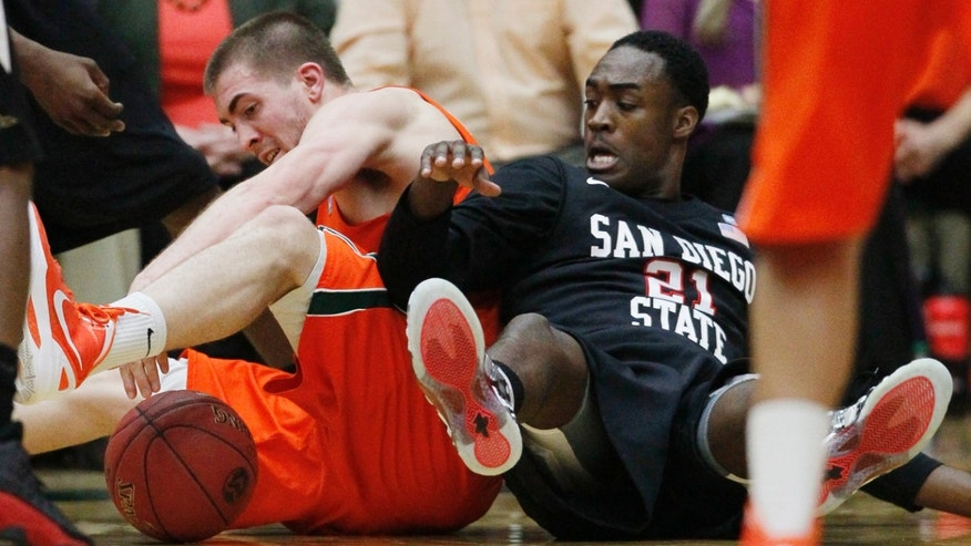 Colorado State forward Pierce Hornung, left, battles for control of a loose ball with San Diego State guard Jamaal Franklin in the second half of Colorado State's 66-60 victory in an NCAA college basketball game in Fort Collins, Colo., Wednesday, Feb. 13, 2013. (AP Photo/David Zalubowski)