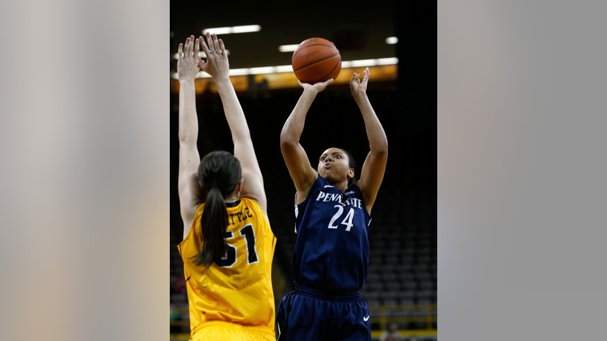 Penn State forward Mia Nickson (24) shoots over Iowa center Bethany Doolittle (51) during the first half of an NCAA college basketball game on Thursday, Feb. 14, 2013, at Carver-Hawkeye Arena in Iowa City, Iowa. (AP Photo/The Gazette, Brian Ray)