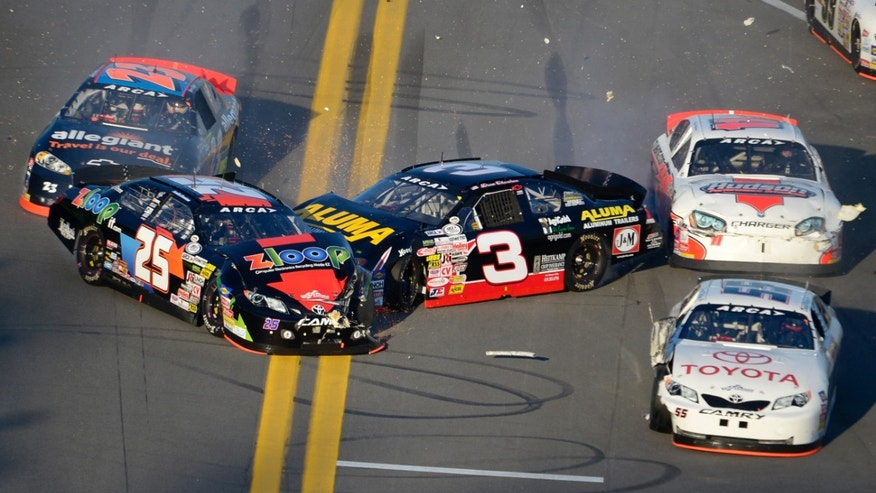 Justin Boston (25), Spencer Gallagher (23), Drew Charlson (3), Brett Hudson (11) and Darrell Wallace (55) collide during the ARCA Series auto race at Daytona International Speedway in Daytona Beach, Fla., Saturday, Feb. 16, 2013. (AP Photo/Phelan M. Ebenhack)