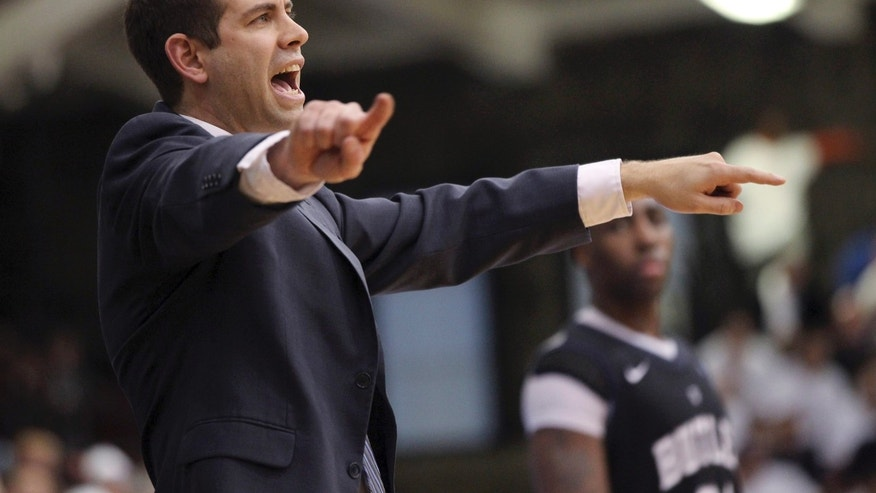 Butler coach Brad Stevens gives his team directions during the second half of an NCAA college basketball game against Fordham, Saturday, Feb. 16, 2013, in New York. Butler won 68-63. (AP Photo/Mary Altaffer)