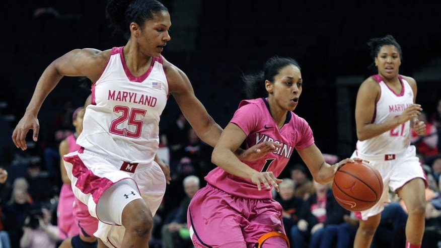 Maryland forward Alyssa Thomas tries to steal the ball from Virginia guard China Crosby during the first half of an NCAA college basketball game in Charlottesville, Va., Sunday, Feb. 17, 2013. (AP Photo/Norm Shafer)