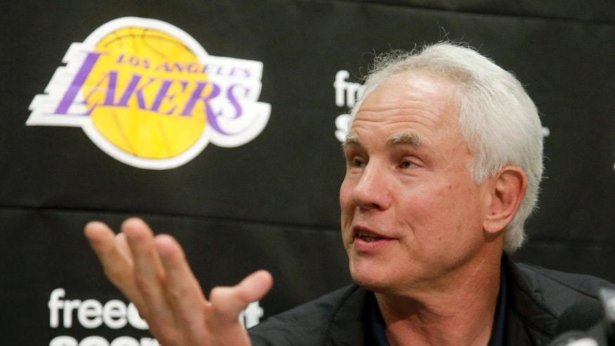 Los Angeles Lakers general manager Mitch Kupchak talks during a news conference in El Segundo, Calif., Tuesday, Feb. 19, 2013, about the death of team owner Jerry Buss. Buss died in Los Angeles on Monday. (AP Photo/Chris Carlson)