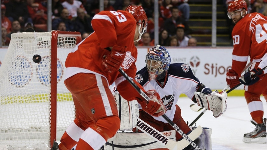 Columbus Blue Jackets goalie Sergei Bobrovsky (72), of Russia, watches the puck pass Detroit Red Wings center Joakim Andersson (63), of Sweden, during the second period of an NHL hockey game in Detroit, Thursday, Feb. 21, 2013. (AP Photo/Carlos Osorio)