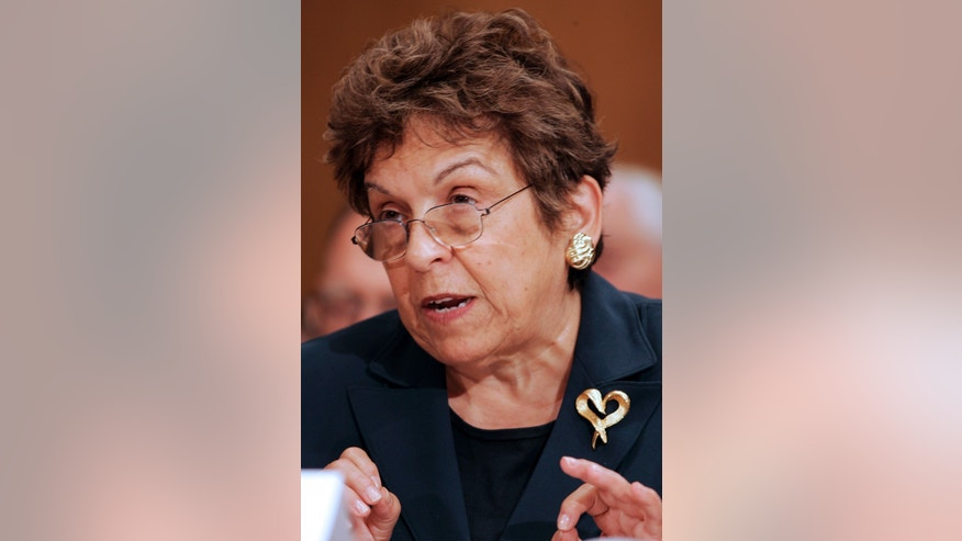 FILE -- In an Oct. 17, 2007 file photo former Health and Human Services Secretary Donna Shalala  testifies on Capitol Hill in Washington.  Shalala, now president of the University of Miami,  has been critical of the NCAA's investigation into the university. (AP Photo/Caleb Jones)