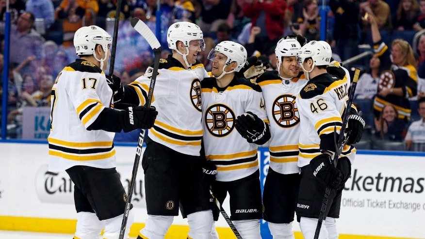From left, Boston Bruins' Milan Lucic, Dougie Hamilton, Dennis Seidenberg, of Germany, Nathan Horton and David Krejci, of the Czech Republic, celebrate a goal during the first period of an NHL hockey game against the Tampa Bay Lightning, Thursday, Feb. 21, 2013, in Tampa, Fla. (AP Photo/Mike Carlson)