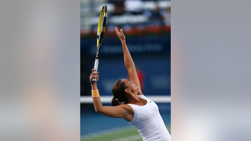 Roberta Vinci of Italy serves to Sara Errani of Italy during the semifinals of the Dubai Duty Free Tennis Championships in Dubai, United Arab Emirates, Friday, Feb. 22, 2013. (AP Photo/Regi Varghese)