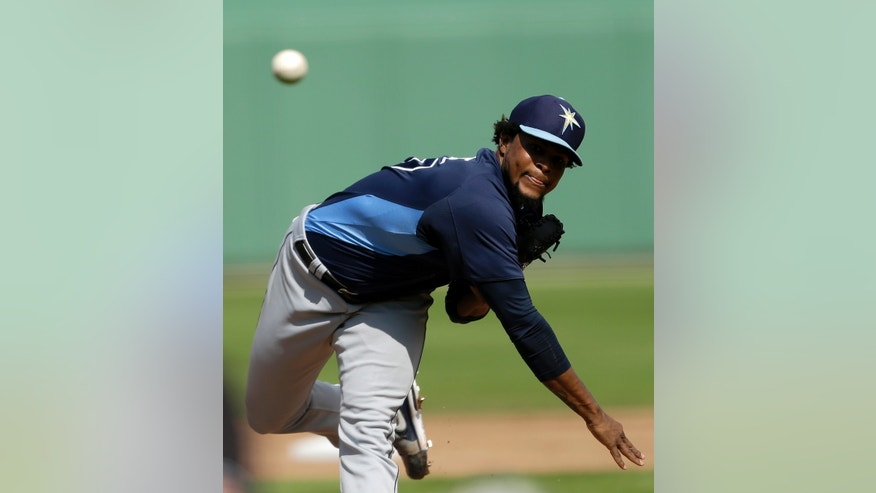 Tampa Bay Rays starting pitcher Alex Colome delivers against the Boston Red Sox during the first inning of an exhibition spring training baseball game, Saturday, Feb. 23, 2013, in Fort Myers, Fla. (AP Photo/David Goldman)