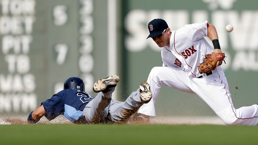 Tampa Bay Rays' Matt Joyce, left, slides safely into second base after hitting a double as Boston Red Sox shortstop Stephen Drew loses the ball on a throw from the outfield during the fifth inning of an exhibition spring training baseball game, Saturday, Feb. 23, 2013, Fort Myers, Fla. (AP Photo/David Goldman)