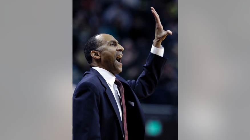 Stanford coach Johnny Dawkins calls plays during the first half of an NCAA college basketball game against Oregon in Eugene, Ore., Saturday, Feb. 23, 2013. (AP Photo/Don Ryan)