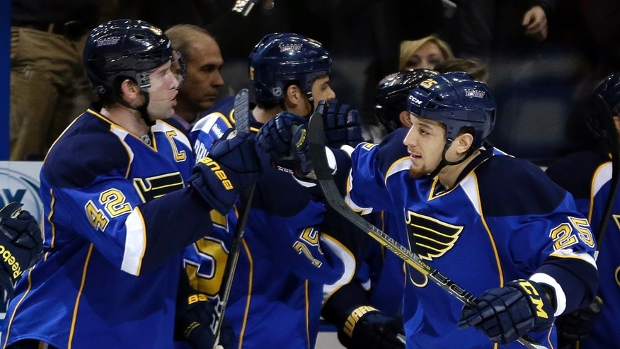 St. Louis Blues' Chris Stewart, right, is congratulated by teammate David Backes, left, after scoring during the first period of an NHL hockey game against the Columbus Blue Jackets on Saturday, Feb. 23, 2013, in St. Louis. (AP Photo/Jeff Roberson)