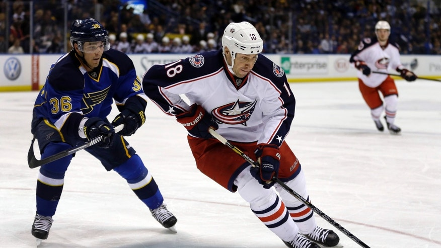 Columbus Blue Jackets' R.J. Umberger, right, handles the puck as St. Louis Blues' Matt D'Agostini defends during the first period of an NHL hockey game Saturday, Feb. 23, 2013, in St. Louis. (AP Photo/Jeff Roberson)