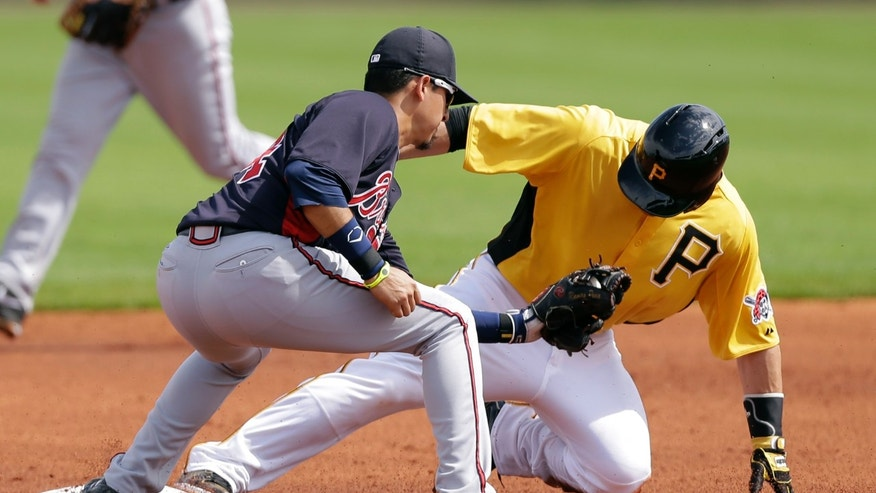 Pittsburgh Pirates' Russell Martin, right, steals second base ahead of the tag by Atlanta Braves shortstop Ramiro Pena during the first inning of a baseball spring training exhibition game, Sunday, Feb. 24, 2013, in Bradenton, Fla. (AP Photo/Charlie Neibergall)