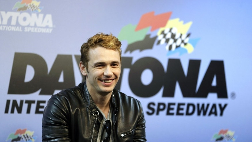 Actor James Franco, Honorary Grand Marshall for the NASCAR Daytona 500 Sprint Cup Series auto race answers questions during a news conference at Daytona International Speedway, Sunday, Feb. 24, 2013, in Daytona Beach, Fla.(AP Photo/John Raoux)