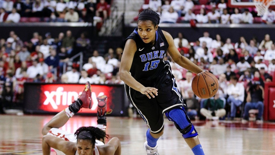 Duke forward Richa Jackson, right, drives past Maryland forward Alyssa Thomas in the first half of an NCAA college basketball game in College Park, Md., Sunday, Feb. 24, 2013. (AP Photo/Patrick Semansky)