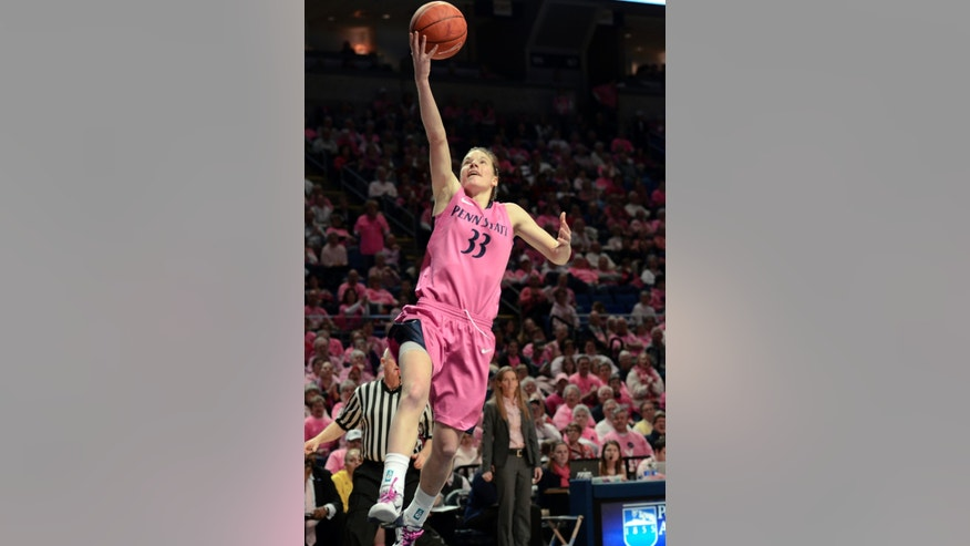 Penn State's Maggie Lucas (33) shoots against Michigan during the first half of an NCAA college basketball game in State College, Pa., Sunday, Feb. 24, 2013. (AP Photo/Ralph Wilson)